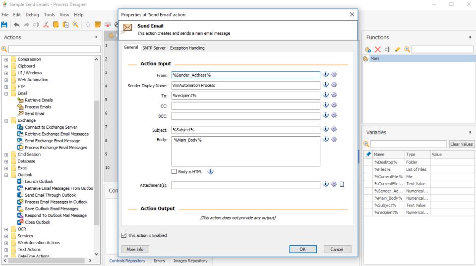 WinAutomation email automation