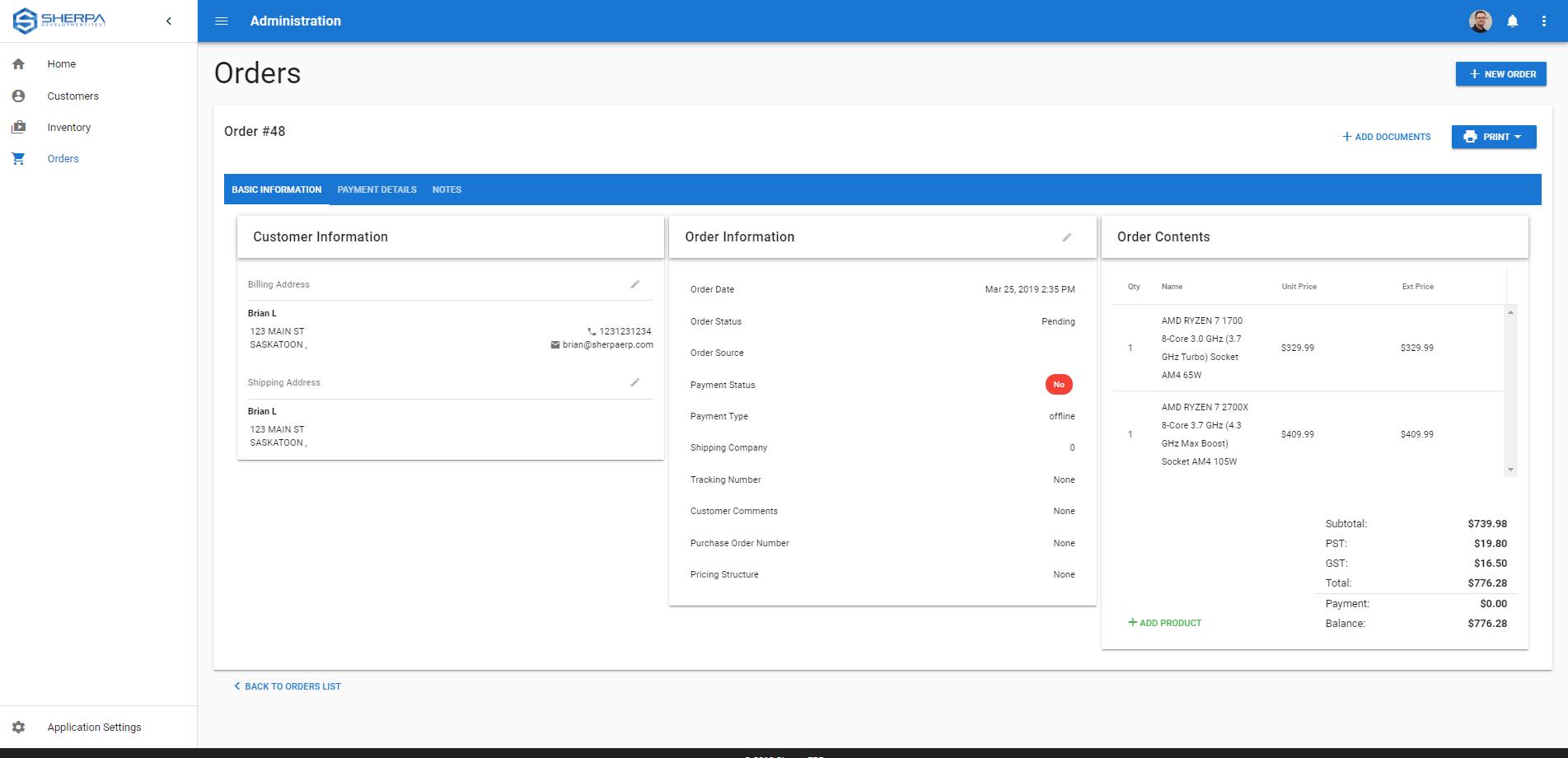 Sherpa ERP Software - Order management dashboard