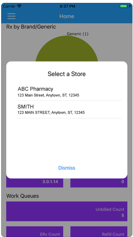 PrimeRx: Select a pharmacy store screenshot