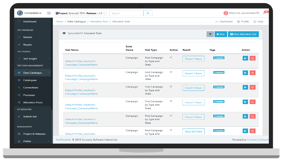 Test Data Automation data catalog