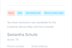 Betterteam screenshot: Users can also take action on candidates from within their email inbox