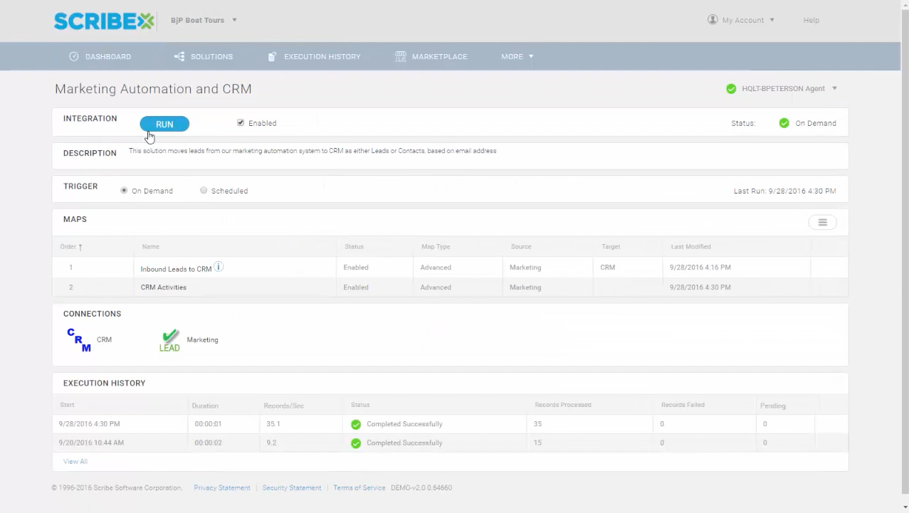 Run integrations, track connections, and view the execution history