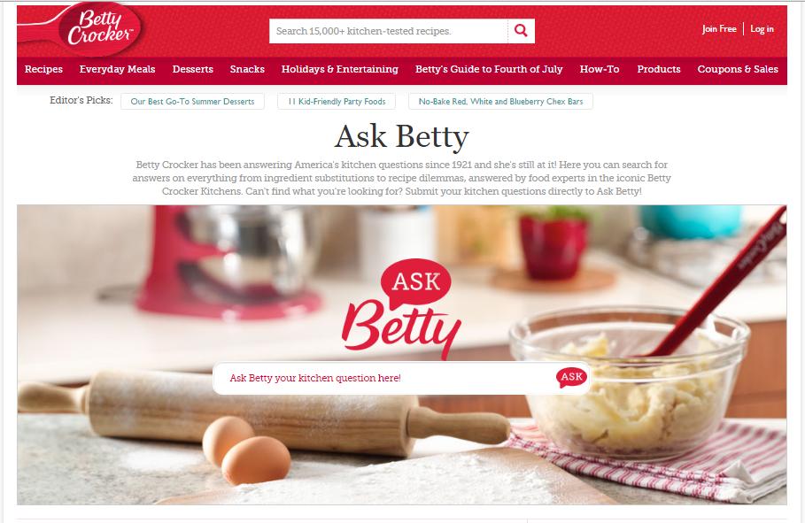 Customer Example - http://www.bettycrocker.com/how-to/ask-betty