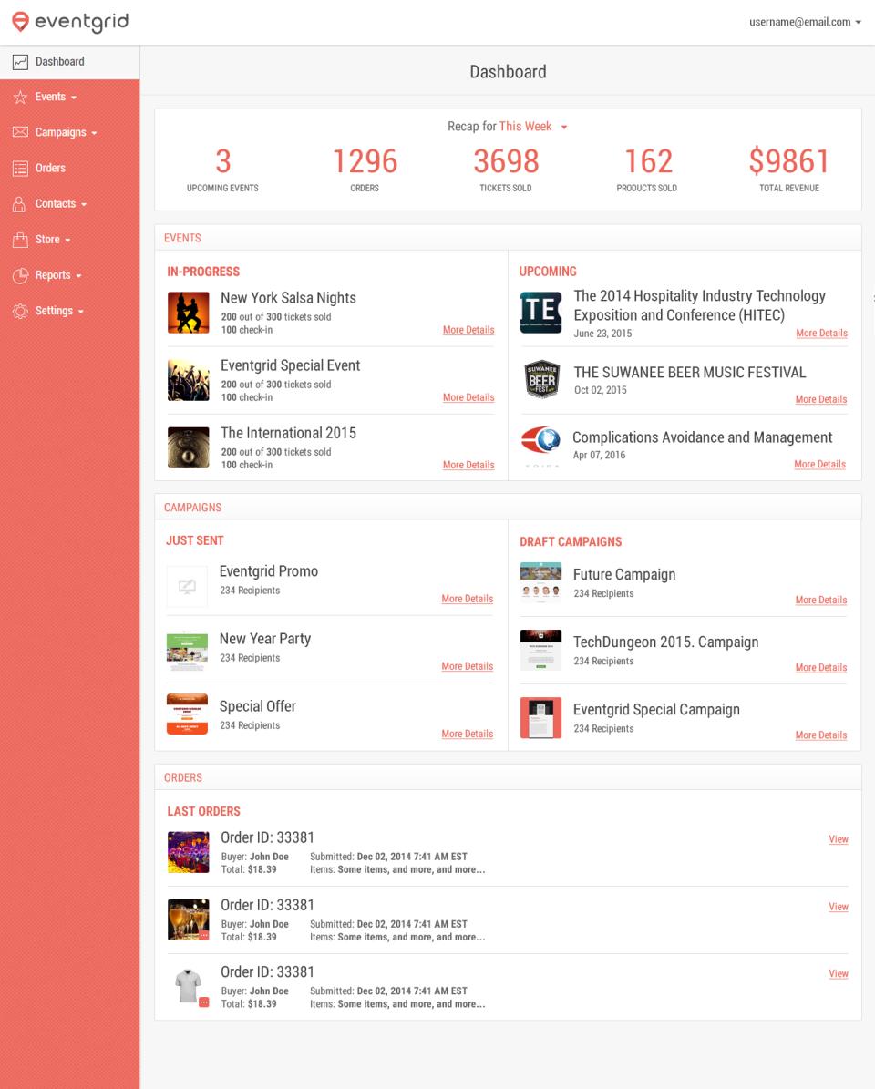 Eventgrid Software - Dashboard