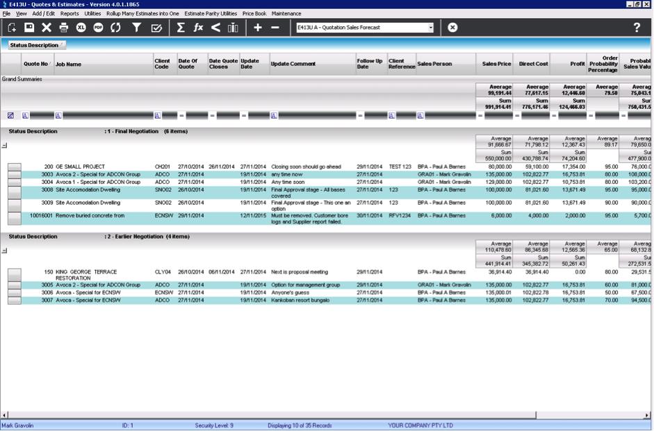 LEVESYS Software - Status description