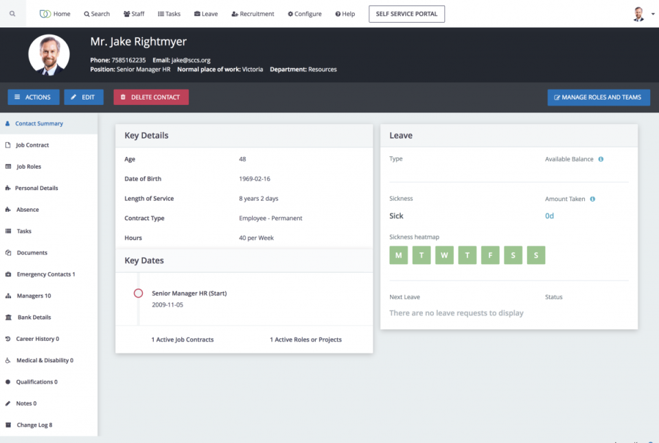 CiviHR staff profiles screenshot