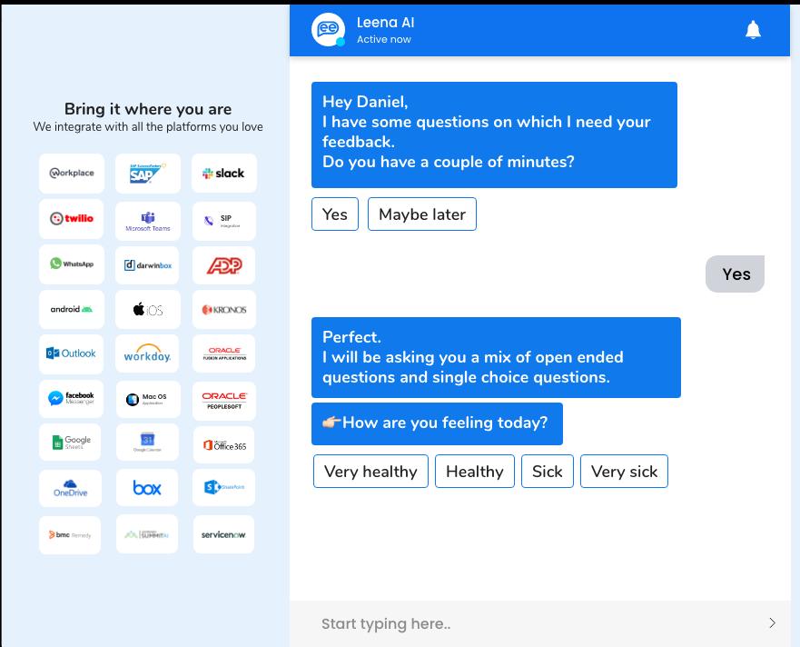 Leena AI survey