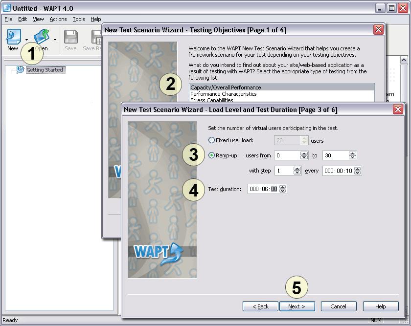 Test scenario wizard