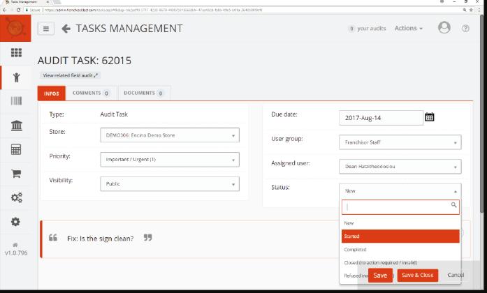 FranchiseBlast task management screenshot