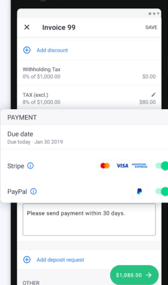 Invoice2go Software - Invoice2go due payments