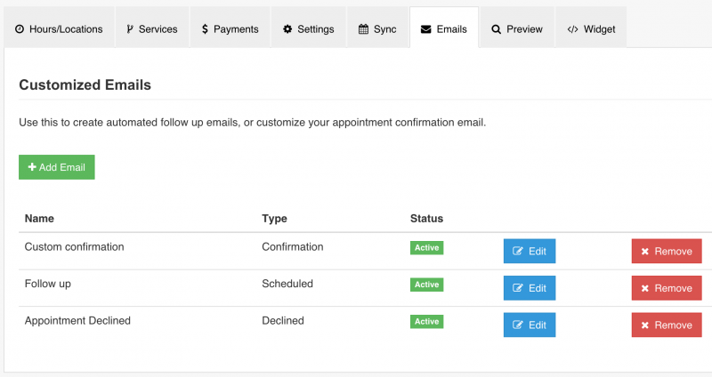 IntakeQ automatic email appointment reminders that can be customized