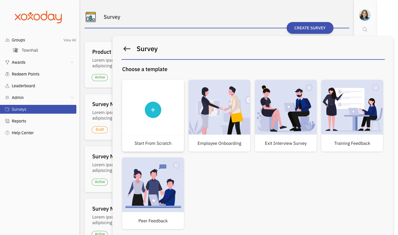 Engagement pulse surveys with rich analytics, actionable insights, benchmarking, frequency etc with access to experts consultation. Templates like onboarding, exit, diversity, L&D from experts available for your use. Build & use custom templates.