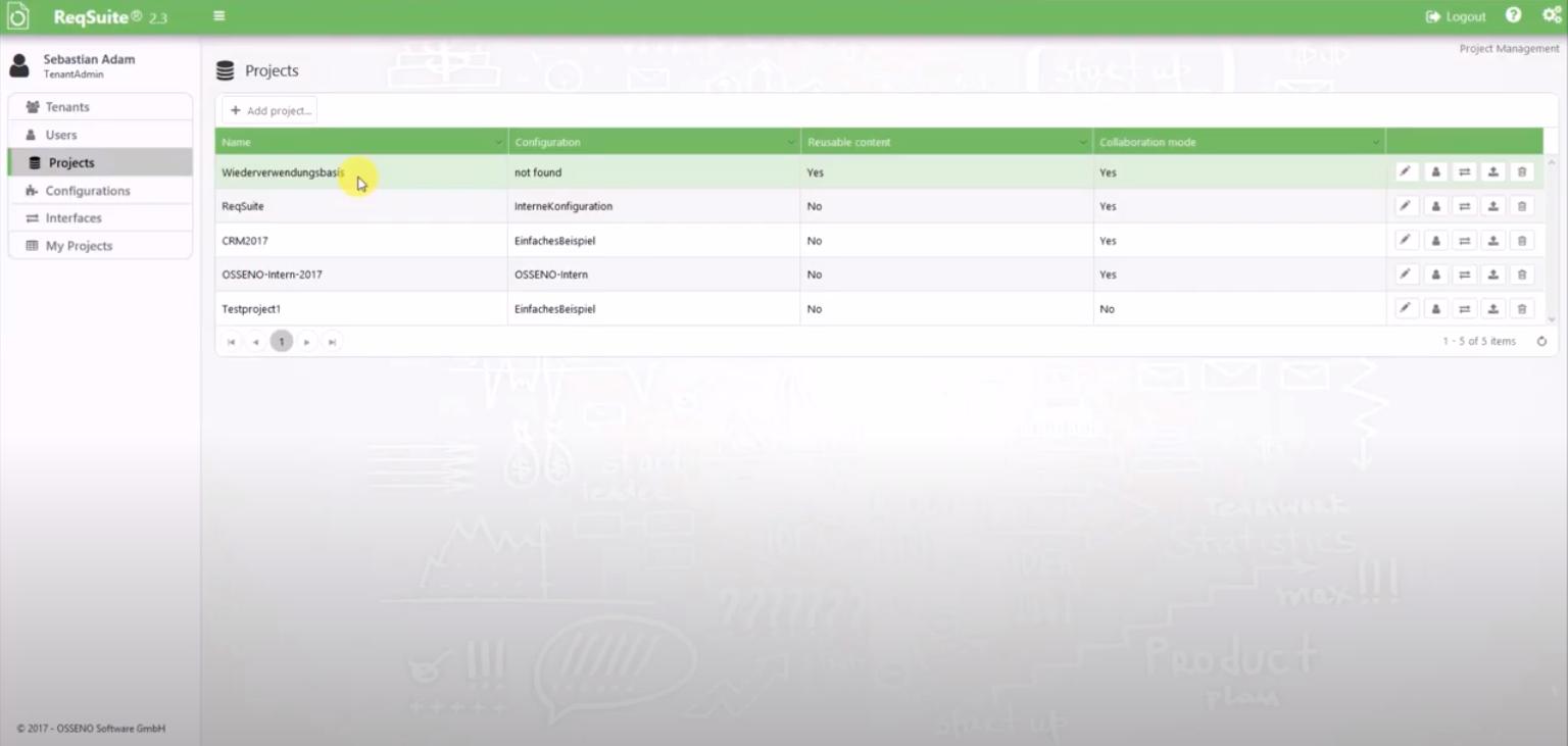 ReqSuite RM project lists