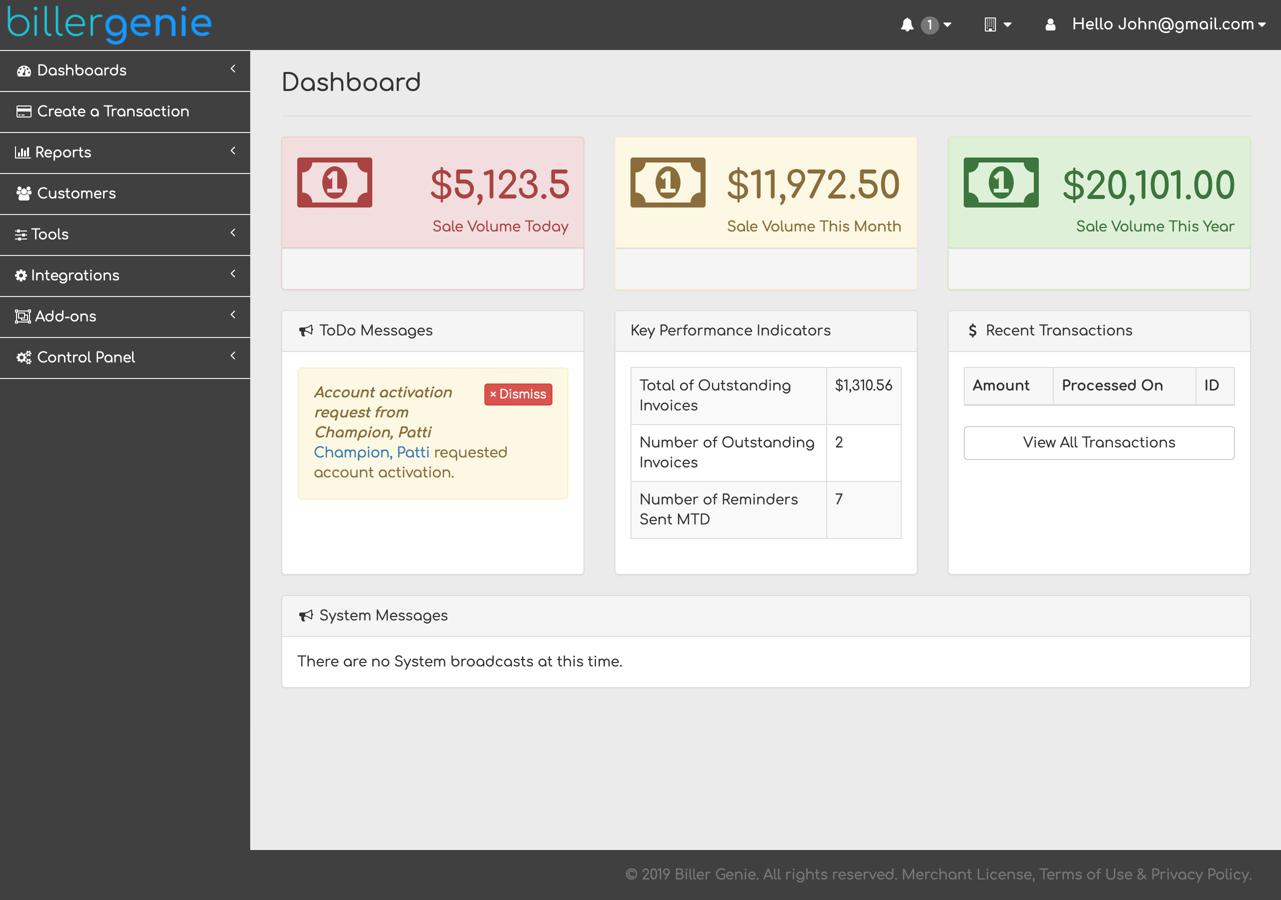 The main dashboard gives you a snapshot of your receivables, allowing you to see the cash flow coming into your business.