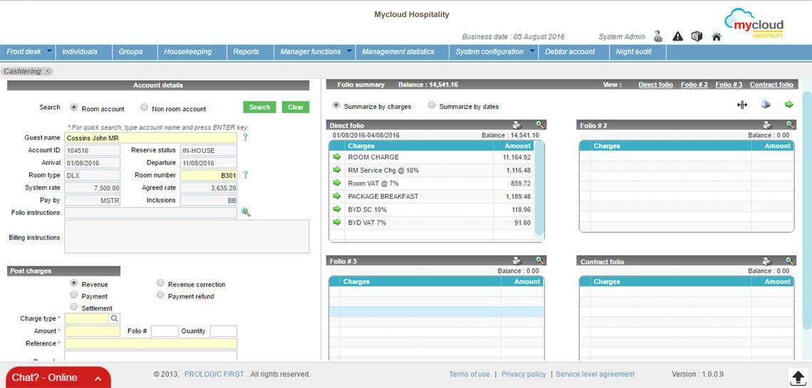 mycloud PMS Software - Cashiering