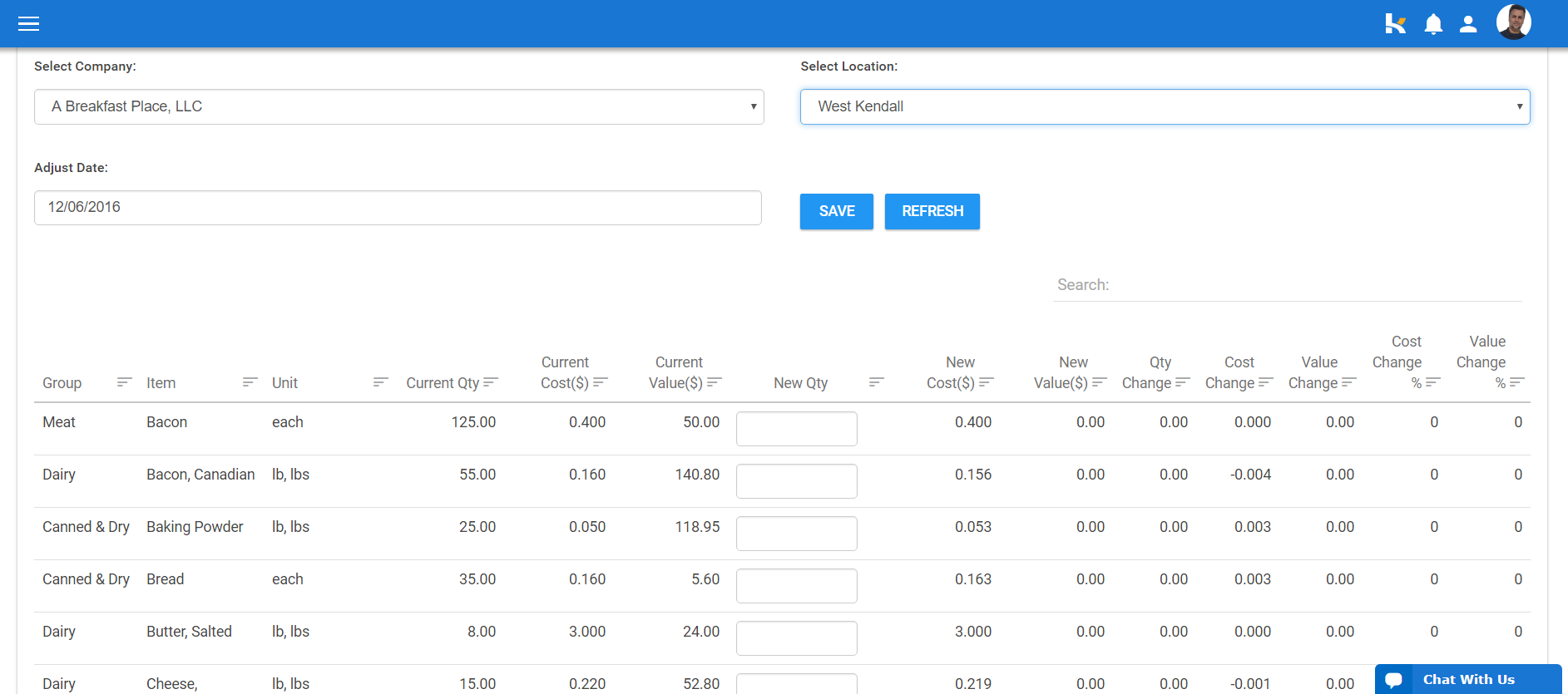 Inventory quantities, costs, and values can be tracked