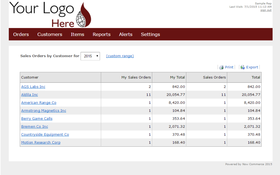 Now Commerce sales order list