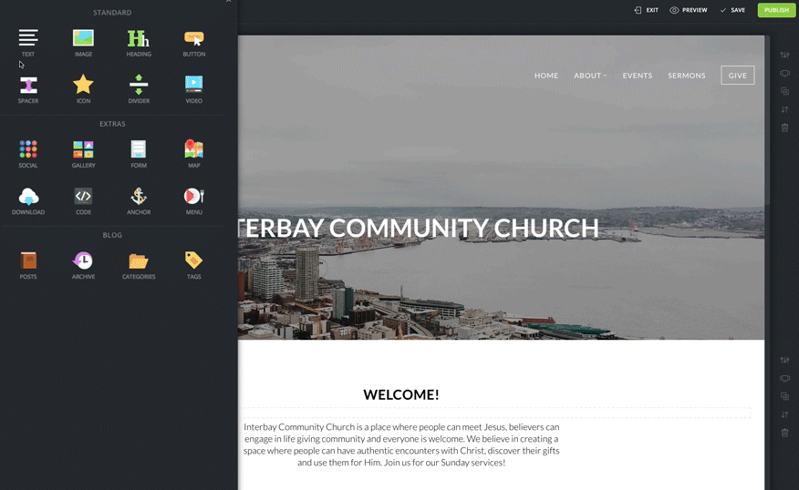 Customize the layout and content on the branded church website