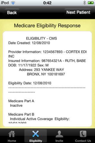 The Electronic Biller Software - Eligibility check response