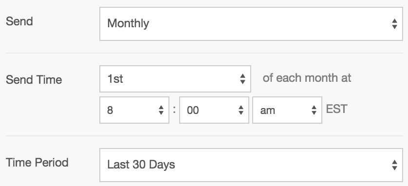 Users can schedule the reports in Agency Analytics to be emailed out to clients either daily, weekly, or monthly