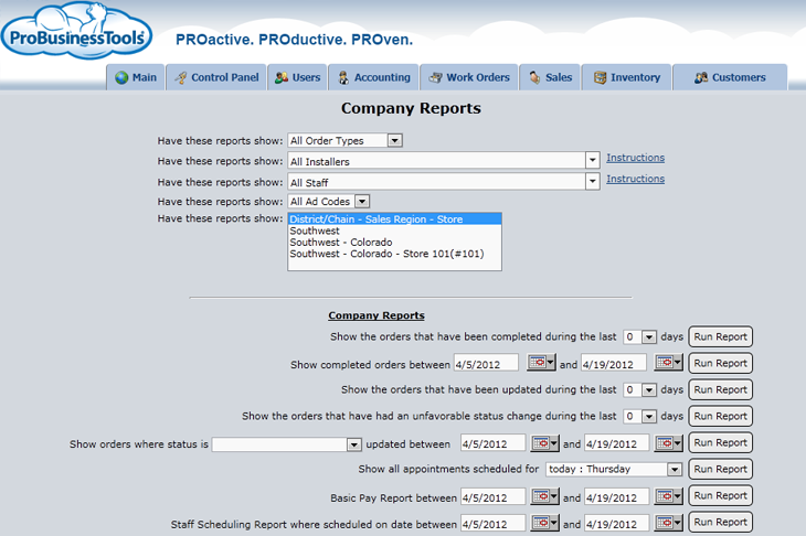 ProBusinessTools showing company reports