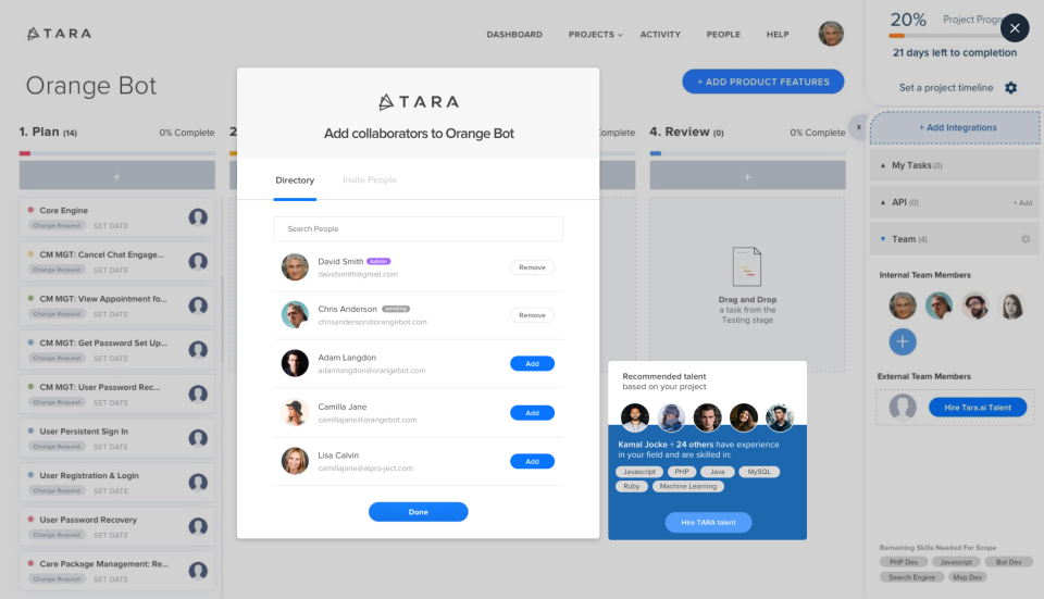Add collaborators to projects by searching the directory or sending an invite via email directly from TARA