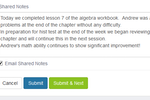 Teachworks screenshot: After every lesson, teachers are able to write and save their lesson notes with the option to email them over to parents or students