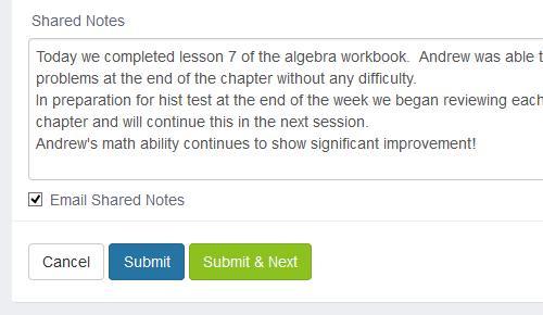 After every lesson, teachers are able to write and save their lesson notes with the option to email them over to parents or students