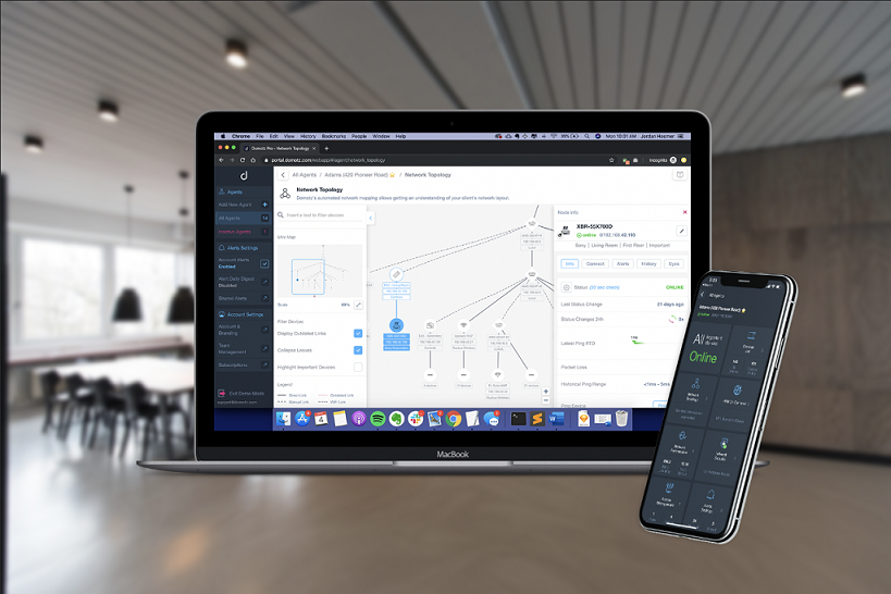 Create a simple and easy to read Map for your Network connected devices. Monitor all your networks through an easy to use Mobile App!