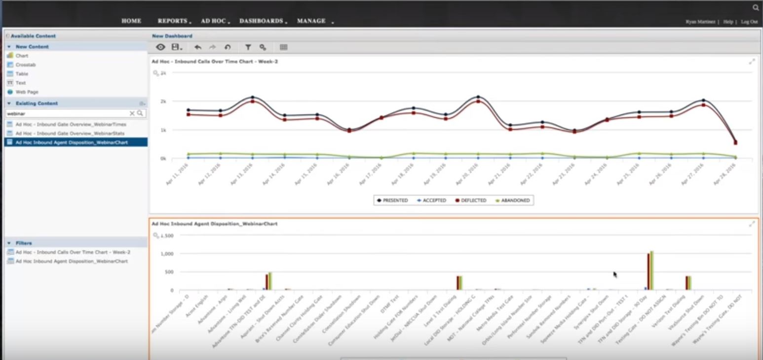 View up to three reports in a single screen using ConnectFirst's drag and drop interface