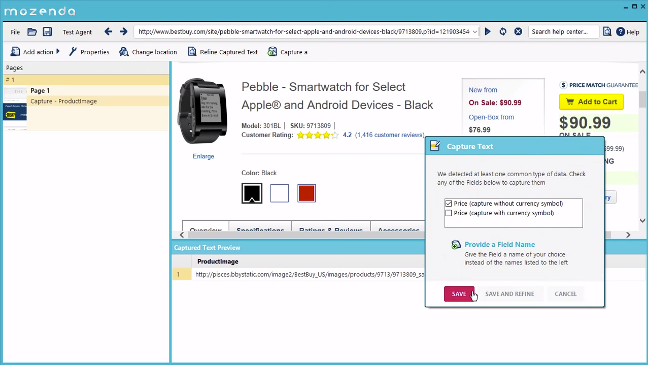 Capture prices, collect lists, and navigate from page to page