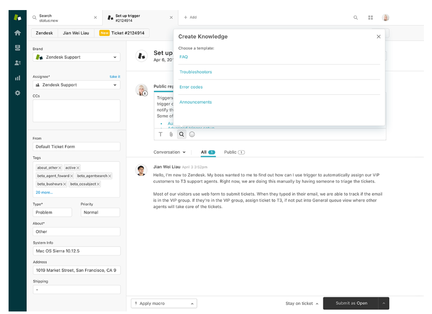Zendesk Suite create new articles
