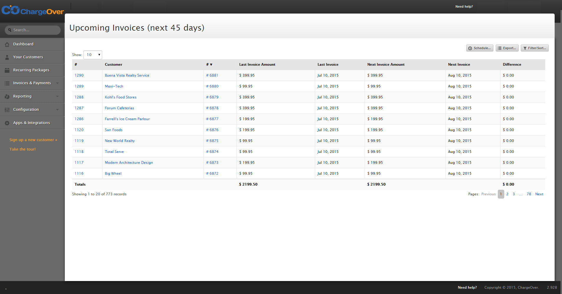 Upcoming invoices