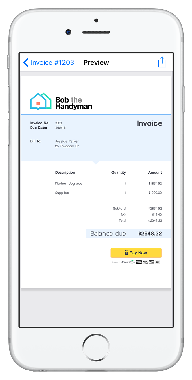 Create and send professionally-styled incoices or estimates with the Invoice2go mobile apps for Android and iOS devices