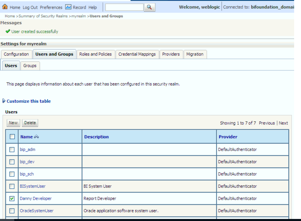 Oracle Business Intelligence Suite admin console