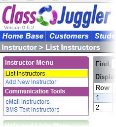 ClassJuggler Software - Instructor list