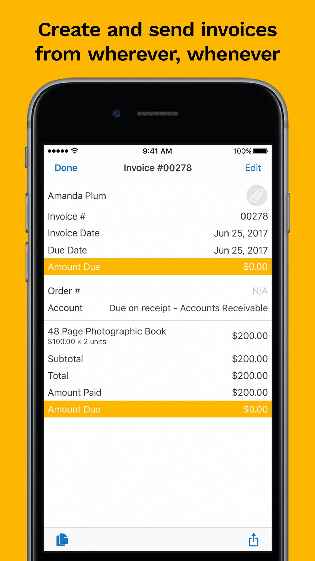 Kashoo screenshot: Invoice management