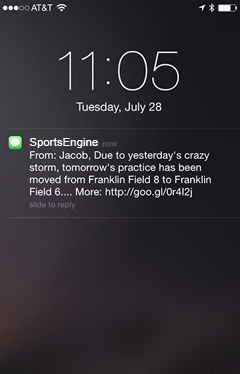 SportsEngine push notifications