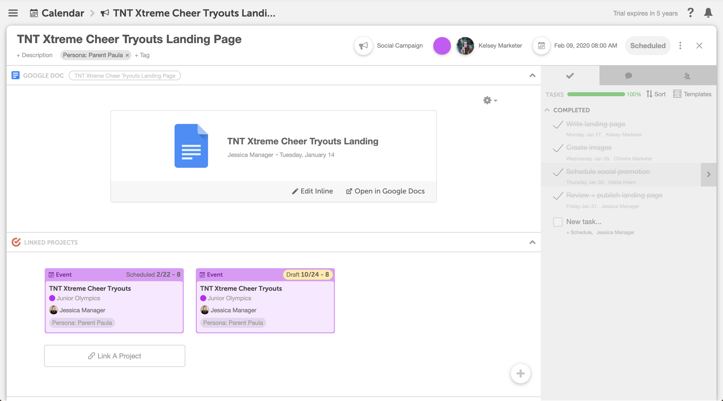 Organize, plan, & execute projects in CoSchedule. Add attachments to organize files, notes, and discussions for specific projects with your team.