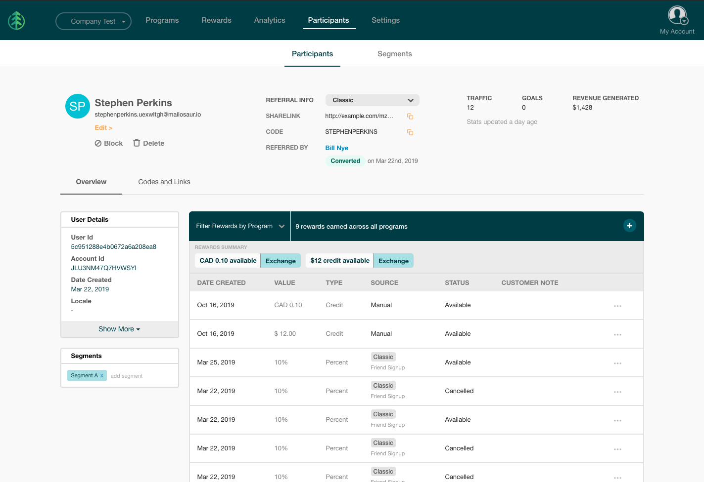 Manage advocate profiles, reward history, codes and links all in one place, and segment participants to provide targeted rewards.