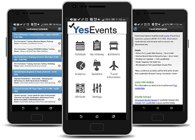 YesEvents provides an ERMobile app for attendees available for both iPhone and Android