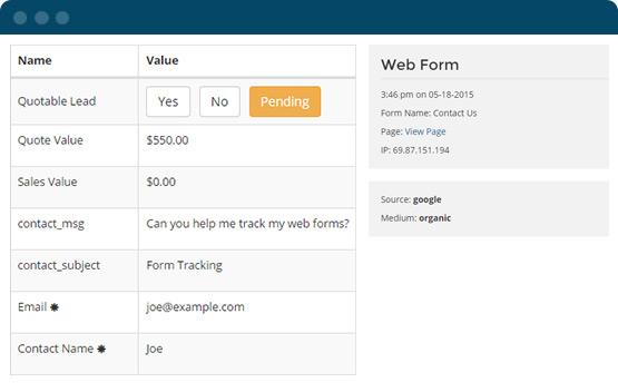 Lead & web form tracking