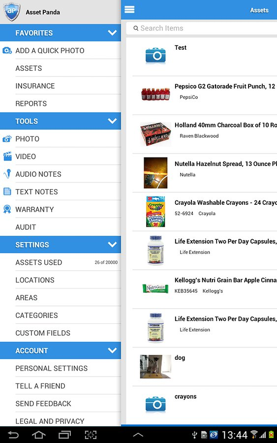 Access the main dashboard via the Asset Panda mobile app