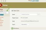 Filevine screenshot: Users can create an organization profile