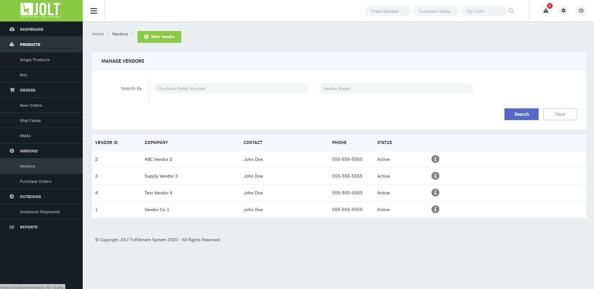 Jolt Fulfillment System Software - Jolt Fulfillment System vendor management