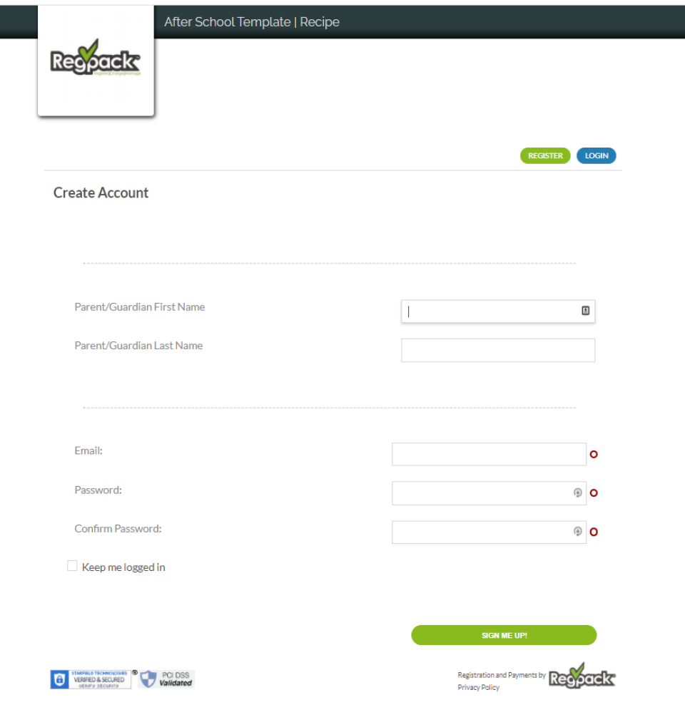 Create new account page