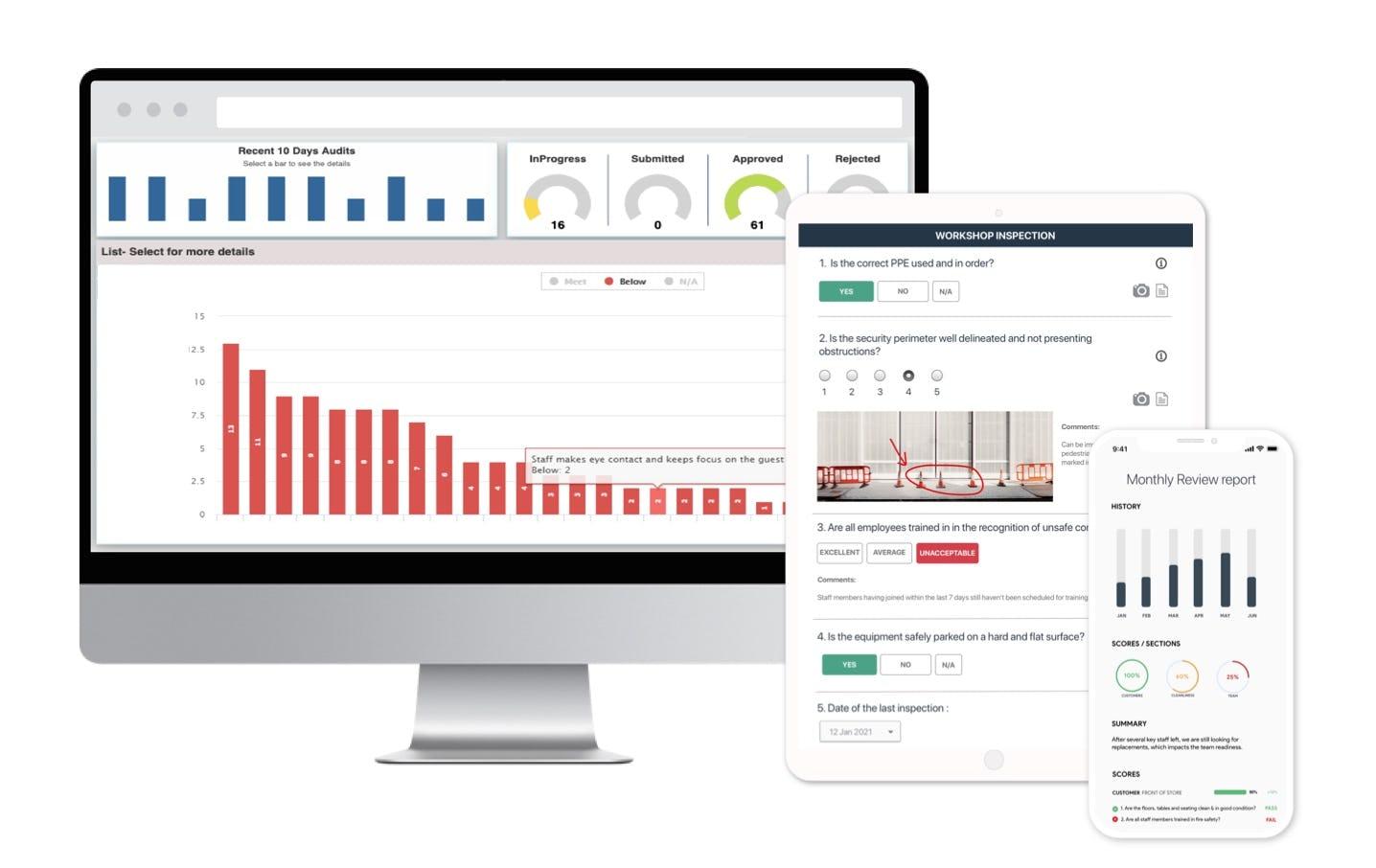 Complete audit & inspection platform on mobile, tablet and computer, works online and offline
