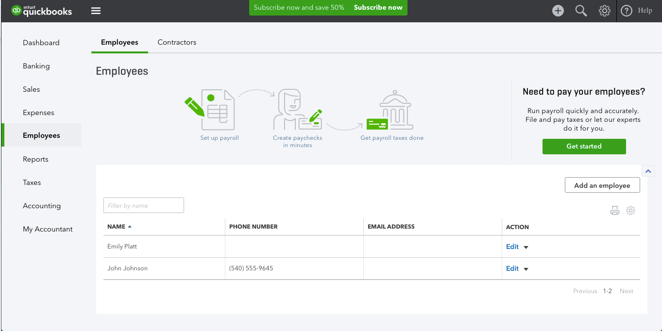 The employee module can be used to manage payrolls