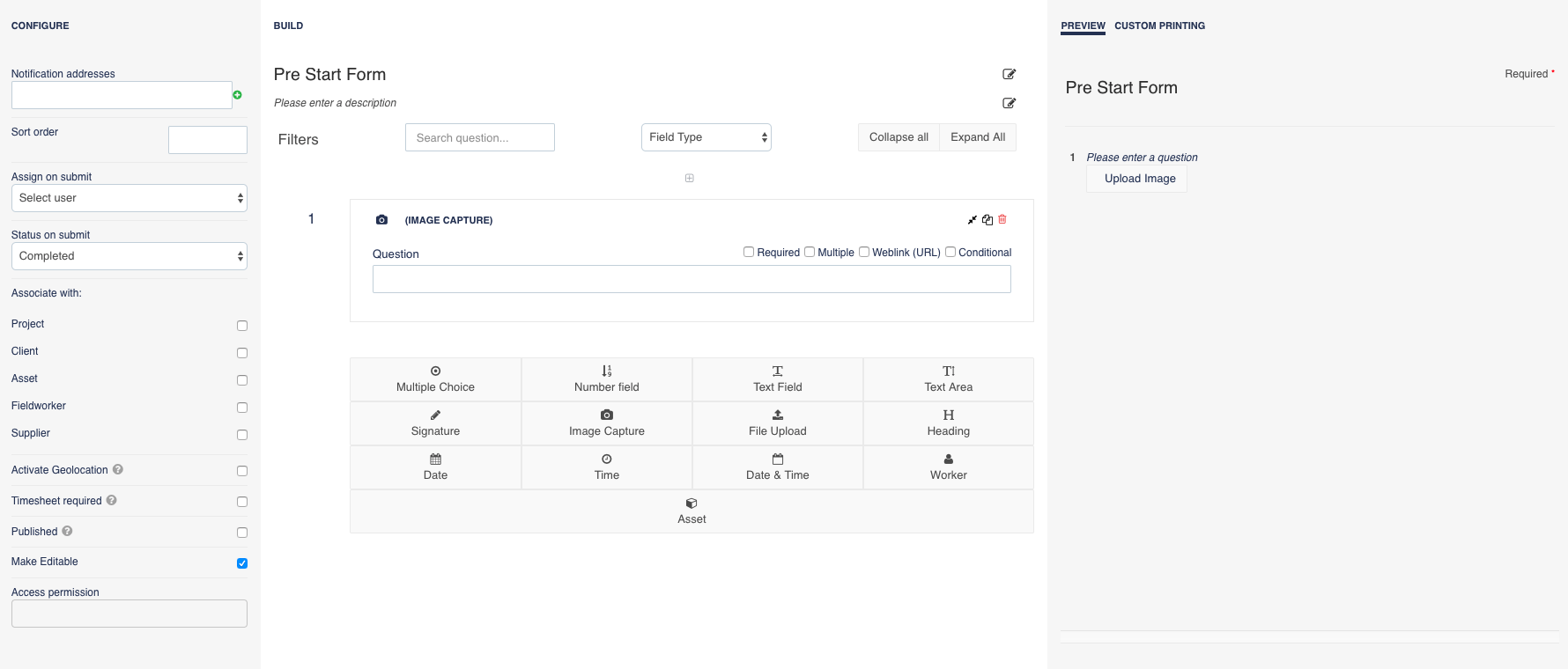 Assignar screenshot: Build custom online forms from scratch or modify templates before sharing with fieldworkers and capturing the results in real time