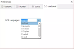 Easy ScreenOCR screenshot: Language selection page with over 100 languages to choose from